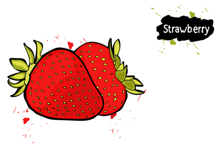 strawberry. splashes of juice. the drawing hands.