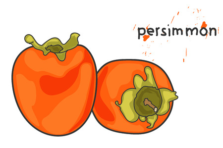 ripe persimmon. splashes of persimmon juice.