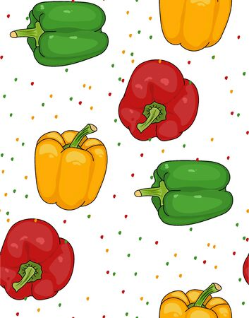 Pepper - seamless pattern. Red, yellow, green pepper. useful vegetables. vegetarianism. Vector illustration with white background. the drawing hands.
