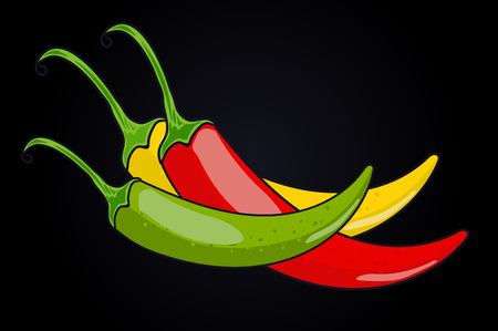 Chile pepper. green, yellow and red. vector illustration. black background.