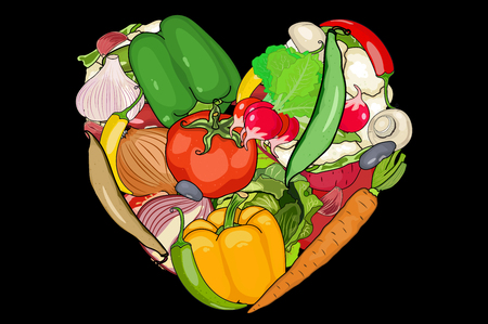 laid: vegetables are laid out in the shape of a heart. Onion, garlic, carrot, pepper, mushrooms, tomato, beet, and other. black background cut vegetables. vector illustration of high quality.