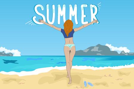 Girl in bikini on the beach summer meets. Illustration