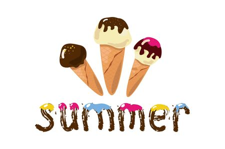 Ice cream on a white background. Summer. vector illustration