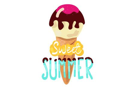 Sweet summer. ice cream with the inscription. Illustration