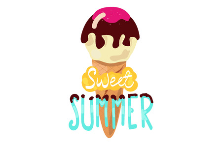 Sweet summer. ice cream with the inscription. Иллюстрация