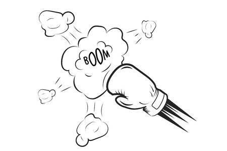 Boxing glove hits the cloud with inscription boom. Monochrome style. Illustration
