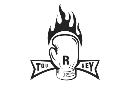 Boxing glove in the fire. Tournament. Monochrome style. Vector image