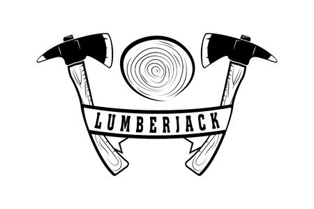 Lumberjack. Badge, emblem, logo. Monochrome style. Vector image Illustration