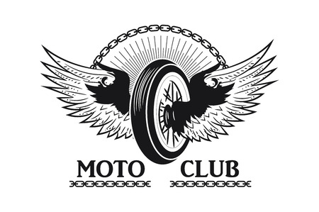 The wheel from a motorcycle with wings. Logo, logo Moto club. Monochrome style. Vector image