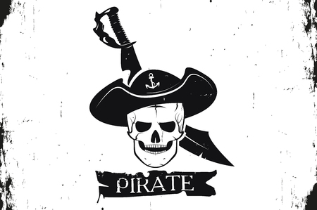 Skull pirate hat and sword. A logo is an emblem of the pirate. Monochrome style. Vector image. Grunge