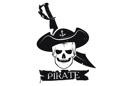 Skull pirate hat and sword. A logo is an emblem of the pirate. Monochrome style. Vector image