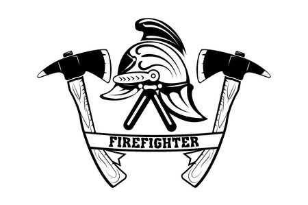 Helmet of a firefighter. Retro emblem of a firefighter. Axes. Monochrome style. Vector image