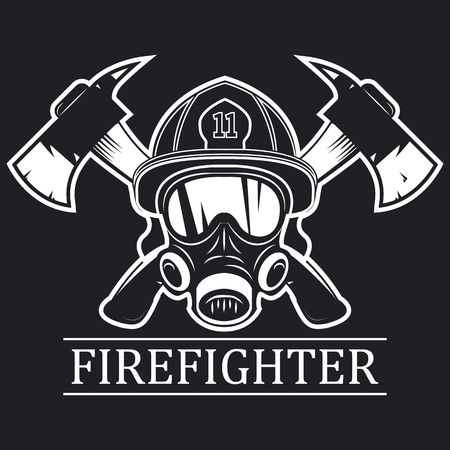Firefighter. Emblem, icon, logo. Fire. Mask firefighter and two axes. Monochrome vector illustration.