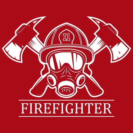 Pompier. Emblème, icône, logo. Feu. Masque pompier et deux axes. Illustration vectorielle monochrome.