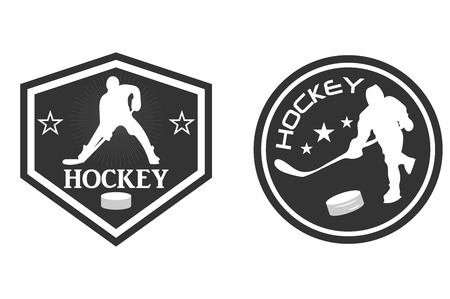 Hockey logo. The player with the stick. Washer. Monochrome vector illustration.