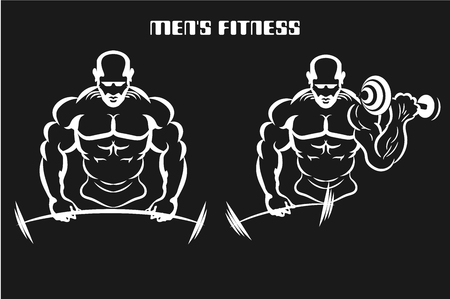 Inflated man muscle swinging weights. Monochrome vector illustration. Logo for a fitness club. Vectores