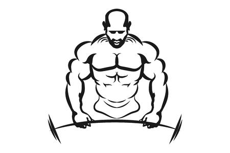 Aufgeblähte Mannmuskelschwinggewichte. Monochrome Vektor-Illustration. Logo für einen Fitnessclub. Standard-Bild - 79018554