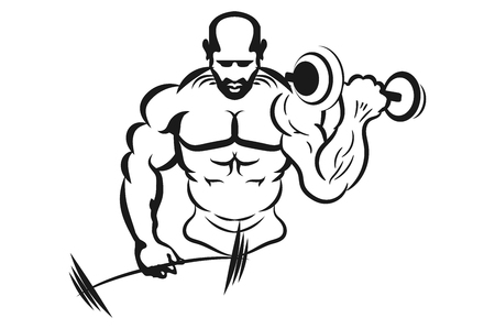 Inflated man muscle swinging weights. Monochrome vector illustration. Logo for a fitness club. Illustration