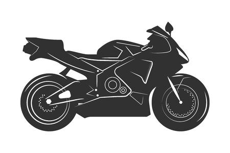 Schwarzes Motorrad. Auf einem weißen Hintergrund isoliert. Monochrome Vektor-Illustration. Standard-Bild - 79018571
