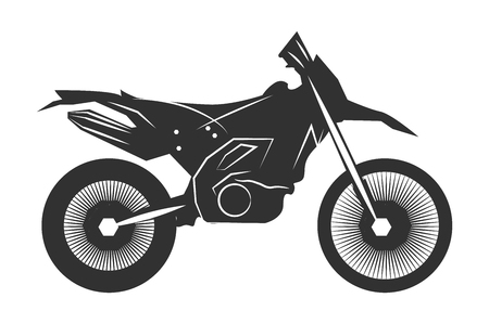Black motorcycle. Isolated on a white background. Monochrome vector illustration.