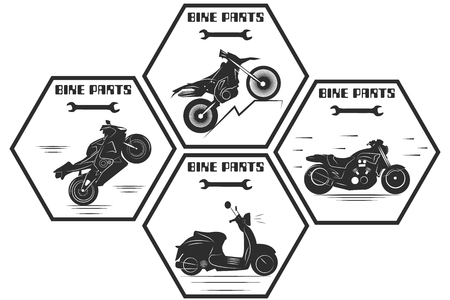 Motor service repair motorcycles, badges, and emblems. Road bike, sport bike, chopper. Monochrome vector illustration. Retro style. Иллюстрация