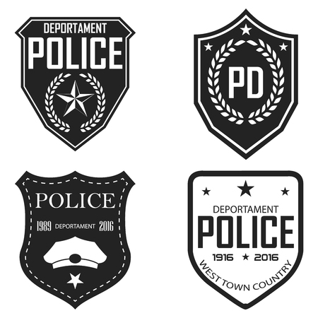 Police badges and emblems. Monochrome vector illustration. Retro style.