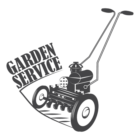 mowing the grass: Garden service. Mow the lawn. Lawnmower. Emblem. Monochrome vector illustration. Retro style.