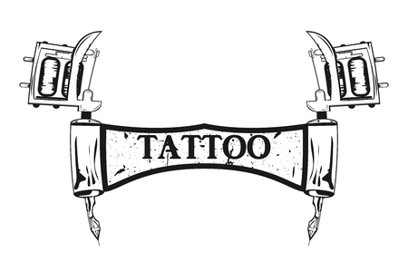 Machine to create tattoos. Poster tattoo. Monochrome vector illustration. Retro style.