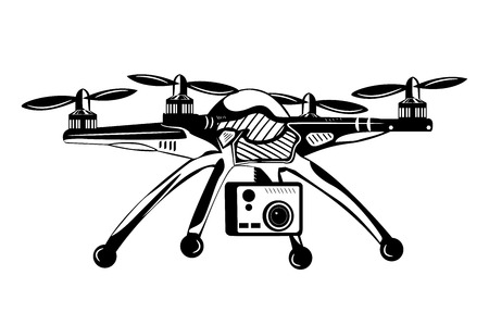 Quadcopter with camera. Monochrome vector illustration. Иллюстрация