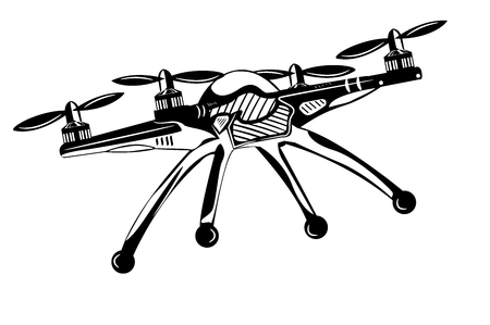 Quadrocopter. Monochrome Vektor-Illustration. Standard-Bild - 80975641
