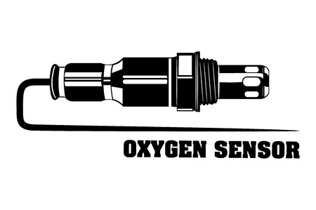 Oxygen sensor engine car. Monochrome vector illustration. Иллюстрация