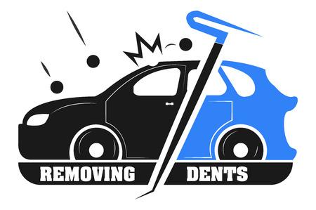 塗装なしの車からへこみを削除します。会社のロゴ。  イラスト・ベクター素材