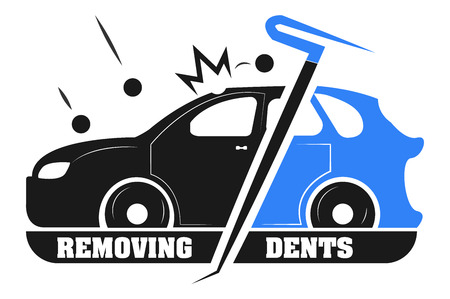Removing dents from cars without painting. The logo of the company.
