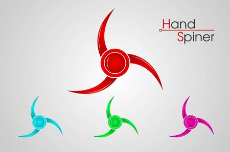Set of hand spinner logo isolated on white background, emblems and icons, vector illustration