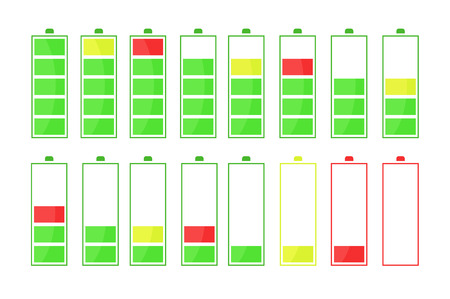 The sequence of battery discharge. A fully charged and a discharged battery in different colors. Vector illustration.