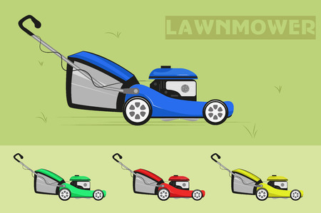Lawnmower on wheels. Vector illustration.