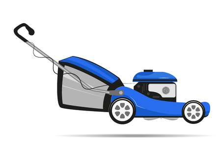 Lawnmower on wheels, blue. Vector illustration.