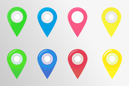 Checkpoint, the icons on the map. Vector illustration, flat and voluminous style.