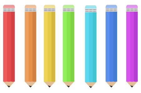 A set of colored pencils. Vector illustration.