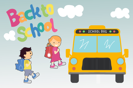 yellow schoolbus: Girl and a boy go to school bus. Back to school. Vector illustration.
