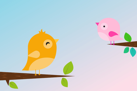Yellow and pink birds sitting on the branches. vector illustration. Иллюстрация