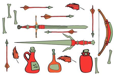 antique swords, arrows, bottles, weapons, feathers, bones, bow.
