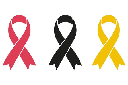 Pink, black, yellow ribbon for breast cancer awareness. Vectores