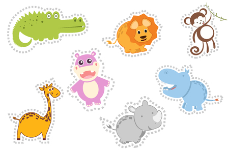 cute animals of Africa, around the dotted line, great for gluing. Rhino, crocodile, monkey, Hippo, giraffe, lion.