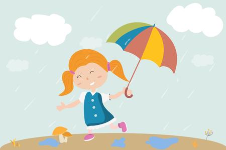 a girl walks under the rain with a umbrella in hand. Hello autumn Vectores