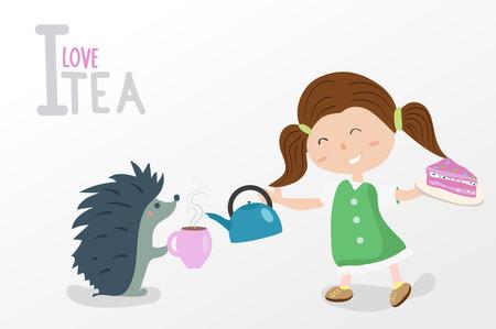 I love tea. the girl pours tea hedgehog. the hedgehog with a girl drinking tea and eating cake.