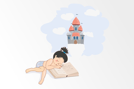 A girl sleeping on the book, the girl dream castle, the Kingdom. Vectores
