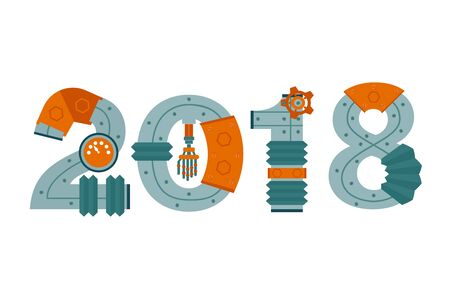 2018 as part of the robot new year. Illustration