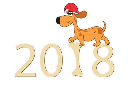 dog in Santa hat go by the numbers 2018. new year. merry Christmas Illustration