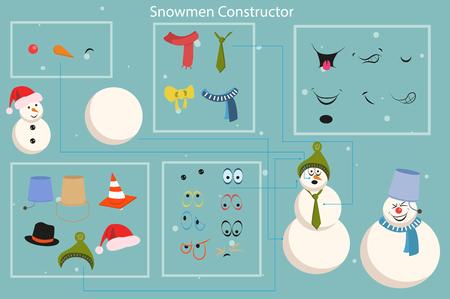 Snowman builder template vector